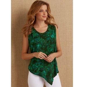 Soft Surroundings Batik Asymmetrical Tank Green